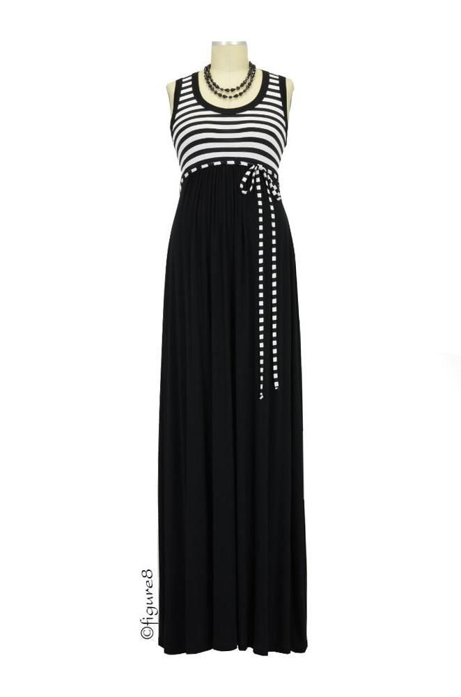 Grace Maxi Maternity Dress in Black and White Stripes