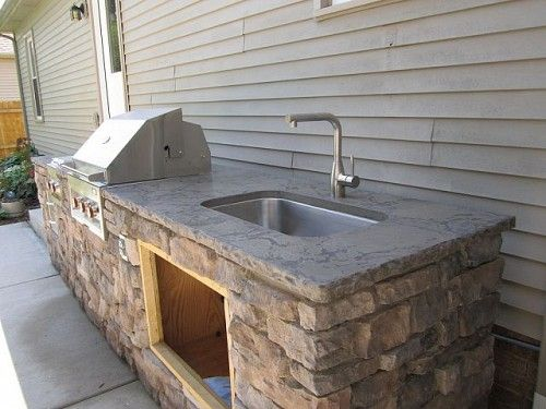brick outdoor kitchen with sink against house - Google ...