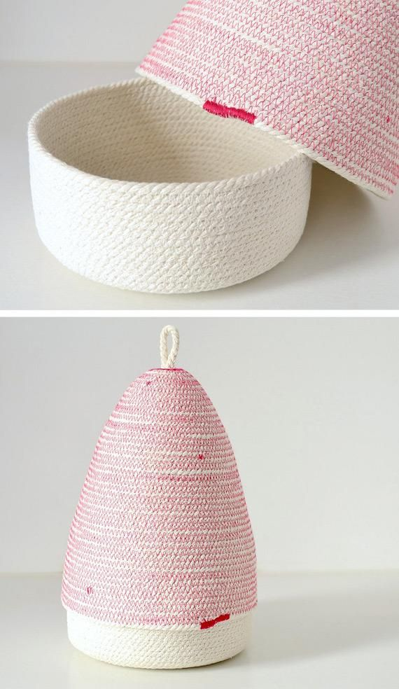Give clutter a (cute) new home: a rope basket made in Mallorca, Spain. #etsyfinds #storagesolutions
