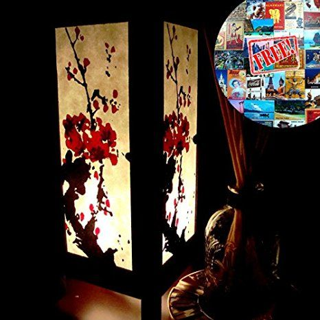 Red Japanese Cherry Blossom Table Lamp Lighting Shades Floor Desk Outdoor Touch…