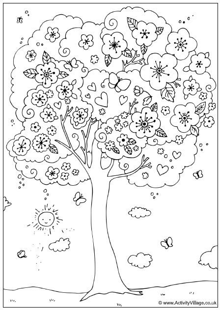 ☯☮ॐ Color it Yourself! ~ Flowering Tree