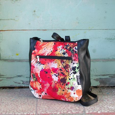"Backpack ""Pollock2"" Energy red, passionate, warm, with possitive energy. Messy and lively touches give this bag a strong message of confidence. For you who dare!"