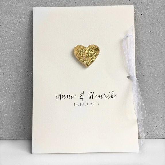 Bryllupsinvitasjon - gullglitter