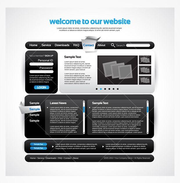 Sleek black website template PSD!