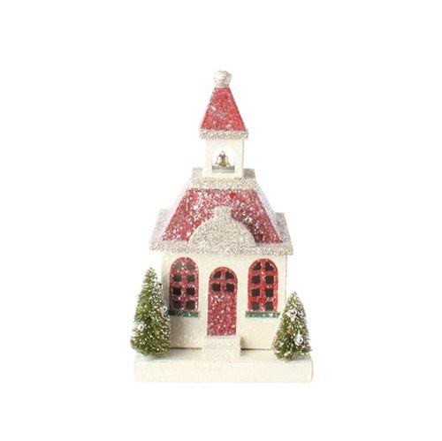 Vintage Putz House Ornaments set of 3 Christmas house decorations