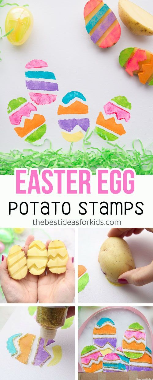 Love this Easter Paper Plate Basket with potato stamped Easter eggs! This is a perfect Easter craft for kids. #easter #eastercraft #kidscraft