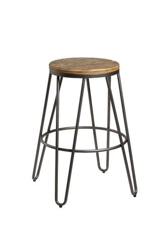 Black Hairpin Stool with Bamboo Seat 66CM