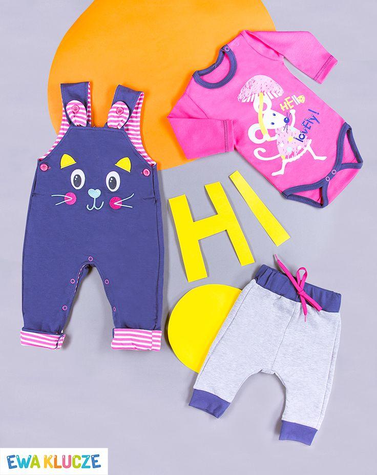 EWA KLUCZE, kolekcja MESSY PLAY, ogrodniczki dla dziewczynki, różowe body, spodenki szary melanż, wiosna-lato 2017, ubranka dla dzieci, EWA KLUCZE, MESSY PLAY collection, pink bodysuit, joggers, baby clothes