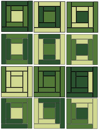 Log Cabin Blanket Schematic,