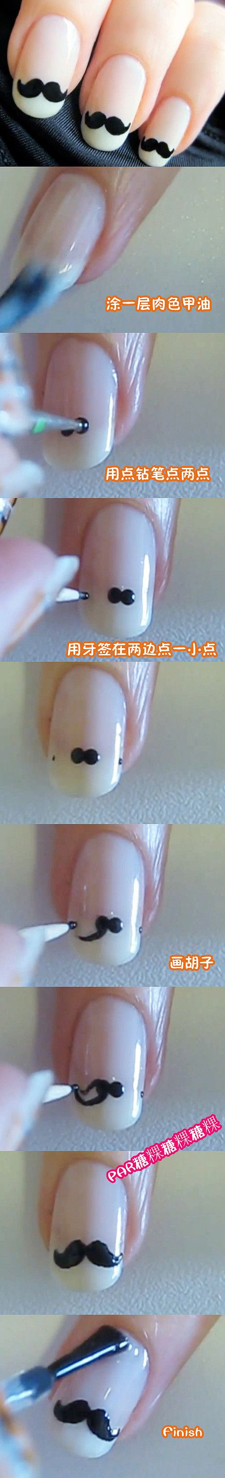 Try this out! Steps #mustaches #nails