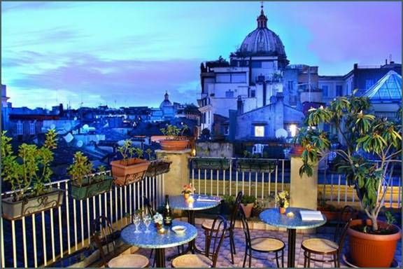 Hotel Smeraldo, Rome. Can't wait for our trip there in June. Great location, charming rooftop for dining, and reasonable rates.