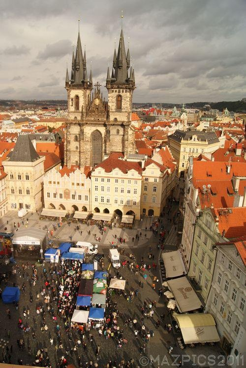View of the city from Old Town Hall Tower - Prague, Czech Republic  copyright mazpics 2011