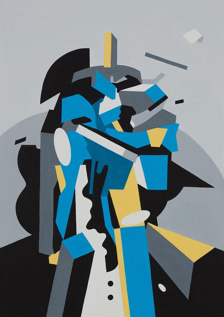 "Tobias Kroeger, ""Fade Away"" Acrylic on Canvas, 2016, 20x30cm - Cubist, Contemporary, Art, Painting, Geometric, Portrait"