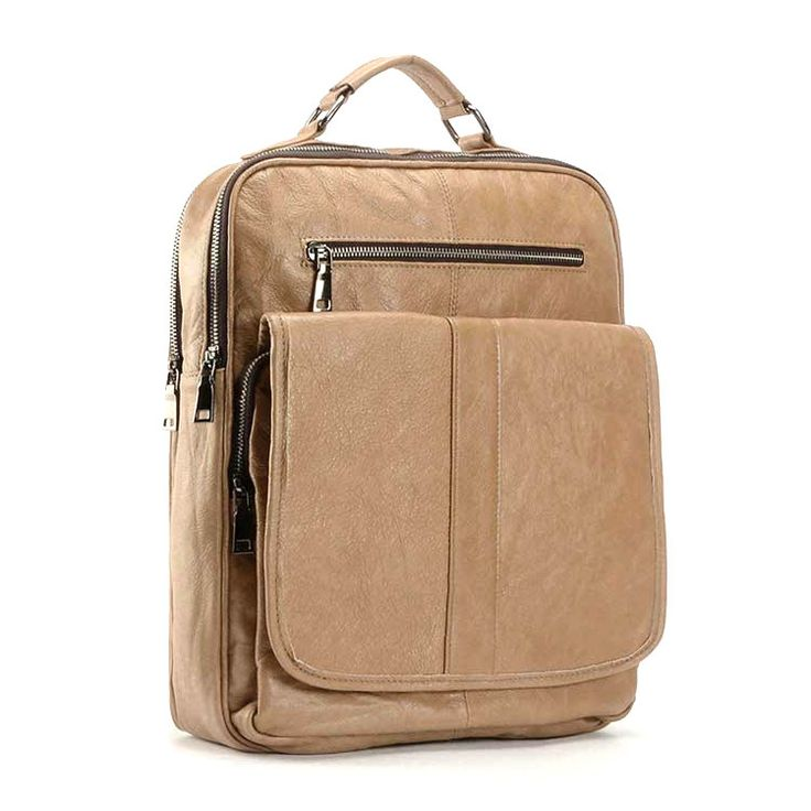 New leather business laptop bag high-grade baotou layer cowhide backpack Men's and women's neutral backpacks-Color Khaki