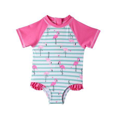 UPF 50 Andy /& Evan Girls Pink Flamingo Ruffled One Piece Swimsuit