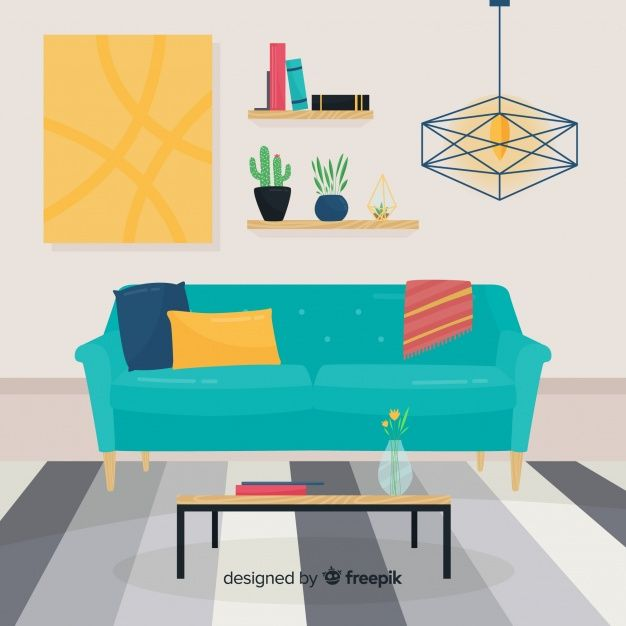 Elegant Hand Drawn Living Room Interior Download Thousands Of