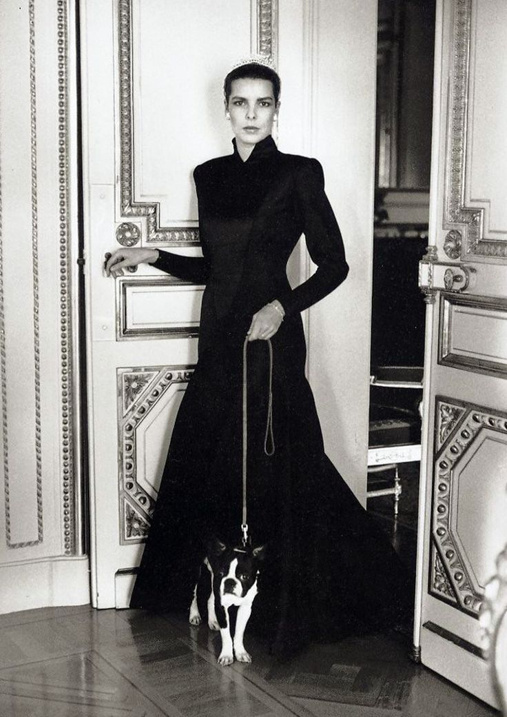 Caroline of Monaco...looking regal & fabulous in a Maxi/flare-skirted, asymetrically closured, gorgeous gown....wOw! .