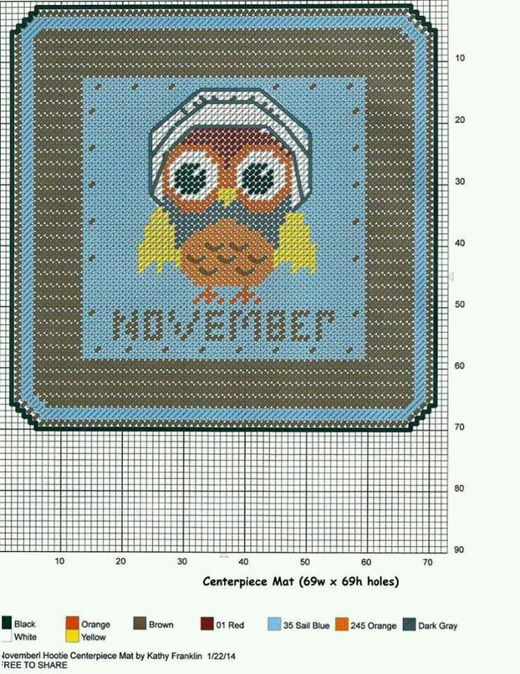 NOVEMBER HOOTIE CENTERPIECE MAT by KATHY FRANKLIN