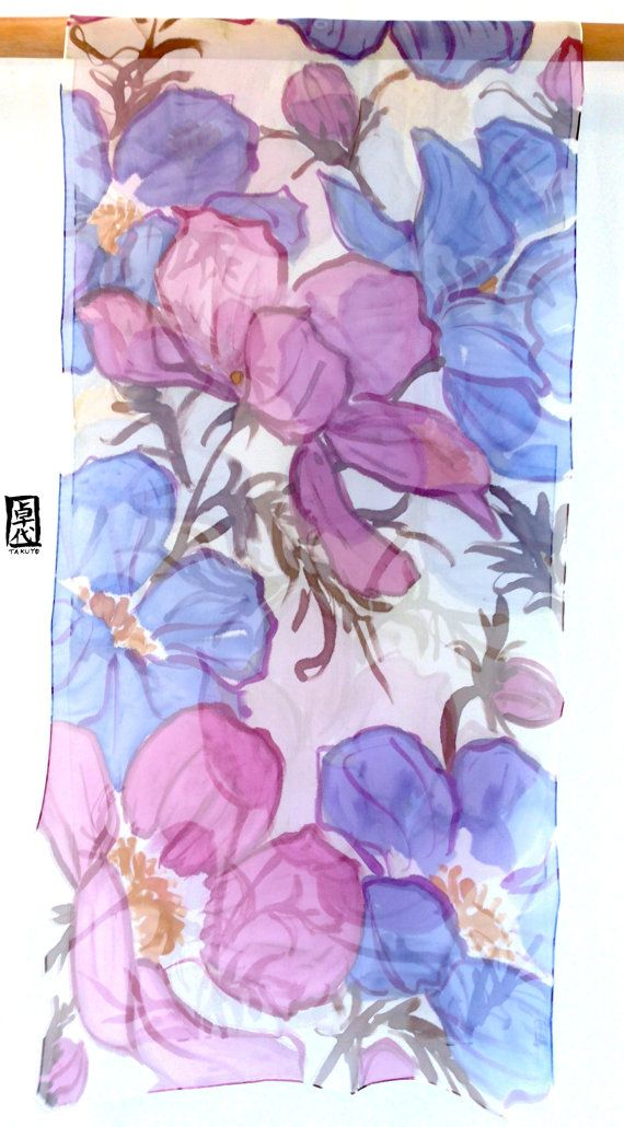 Hand Painted Silk Shawl Wrap Spring Pink And By SilkScarvesTakuyo