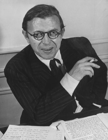 """""""Jean-Paul Sartre at his home in Paris in 1946. He was awarded the Nobel Prize in Literature in 1964, but famously declined to accept it."""""""