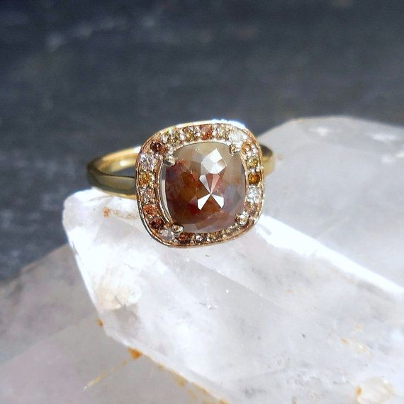 Unique Diamond Engagement Ring  Rose cut Cognac by JewelLUXE