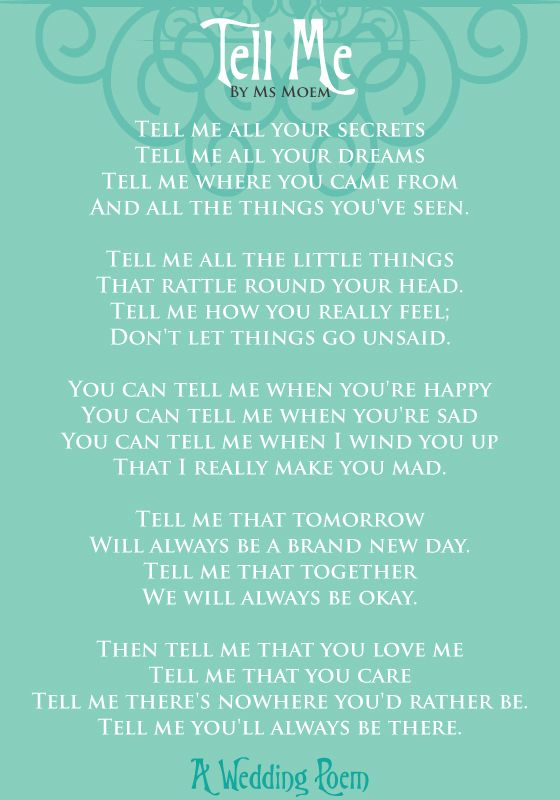 Tell Me ~ A Wedding Poem | Ms Moem | Poems. Life. Etc.