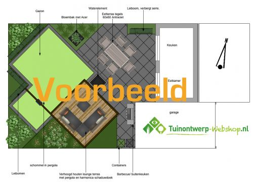 Achtertuin 75-150 m2 Uitgebreid - Tuinontwerp-Webshop.nl