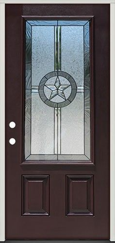 Pre-finished Dark Mahogany Fiberglass Front Entry Door Texas Star 3/4 Lite