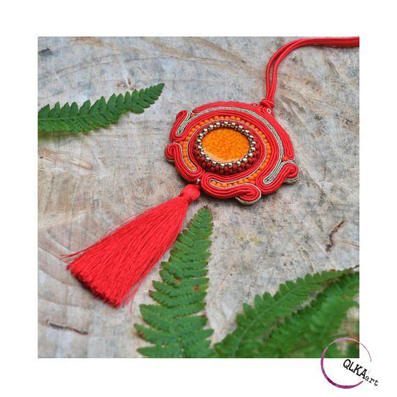 Long necklace tassel necklace red orange jewellery boho