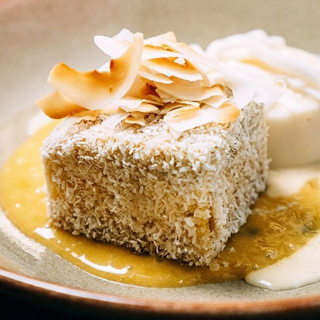 it's not your usual lamington, but I would rather be eating this right about now! @mojobylukemangan's new mango and passion fruit lamington  #lamington #passionfruit #mango #sweet #dessert #desserts #yum #eat #food #restaurantaustralia