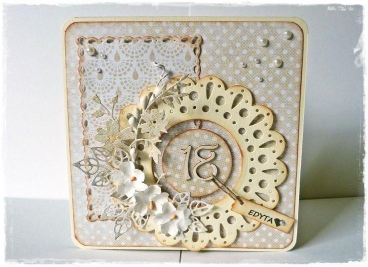 18-ste urodziny z bukietem - wzór – Kartki urodzinowe - wymiary: Kartka - 14 x 14cm – Artillo