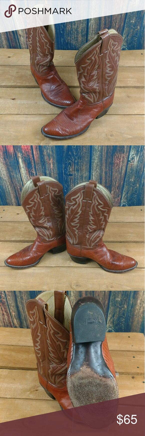 "JUSTIN EXOTIC IGUANA SKIN LEATHER COWBOY BOOTS JUSTIN MENS EXOTIC IGUANA SKIN LEATHER COWBOY WESTERN BOOTS  US 8 UK 7 INSIDE LENGTH: 9.5""  GOOD PRE-OWNED CONDITION WITH NO RIPS TEARS OR STAINS.  #1797 Justin Boots Shoes Cowboy & Western Boots"