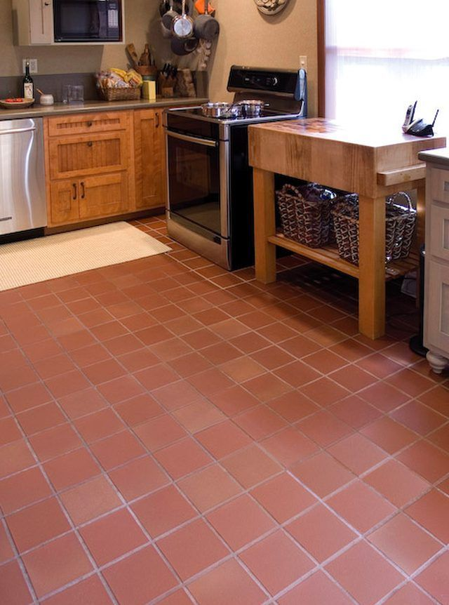 unglazed quarry tile in a kitchen