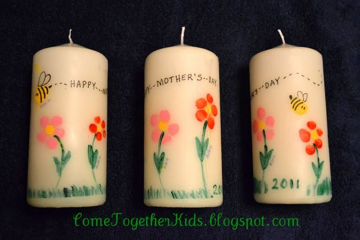 FINGERPRINT CANDLES:  1.  Cut a piece of tissue paper slightly smaller than the size of your candle. 2.  Put a piece of waxed paper down to protect  your work surface (the paint will leak through the tissue).  Then dip fingertip in acrylic paint and press on tissue paper to make the flower petals and bumblebee bodies.  ( I found it worked best to dip in the paint, press on a piece of scrap paper to remove some of the excess, then press on the tissue paper. )  3.  Using paint or marker, add…