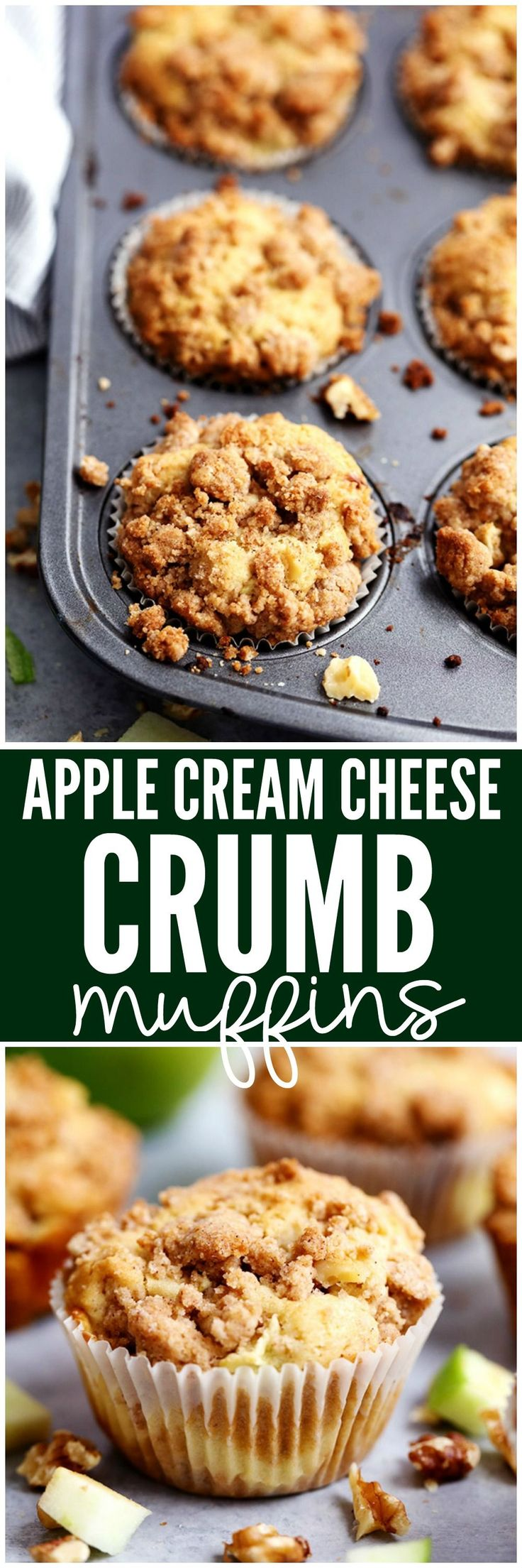 Apple Cream Cheese Crumb Muffins are the perfect buttery and moist apple walnut muffins with a hidden cream cheese center. Topped with a cinnamon sugar crumb topping these are the perfect fall muffins! (Cream Cheese Ideas)