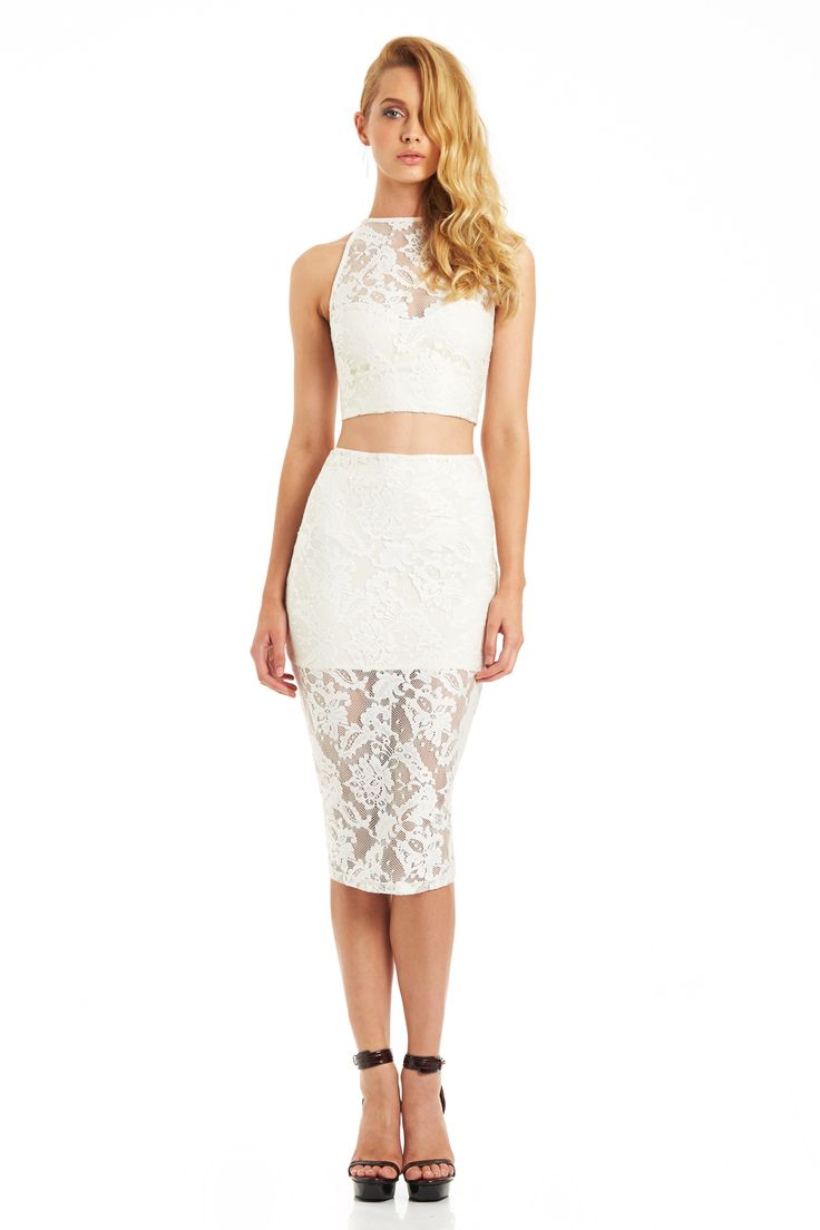 RENEGADE LACE CROP TOP - RENEGADE LACE PENCIL SKIRT (White) #nookie #nt14