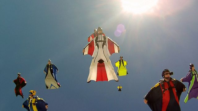wingsuit flying     Looking up into Flock by pictcorrect, via Flickr