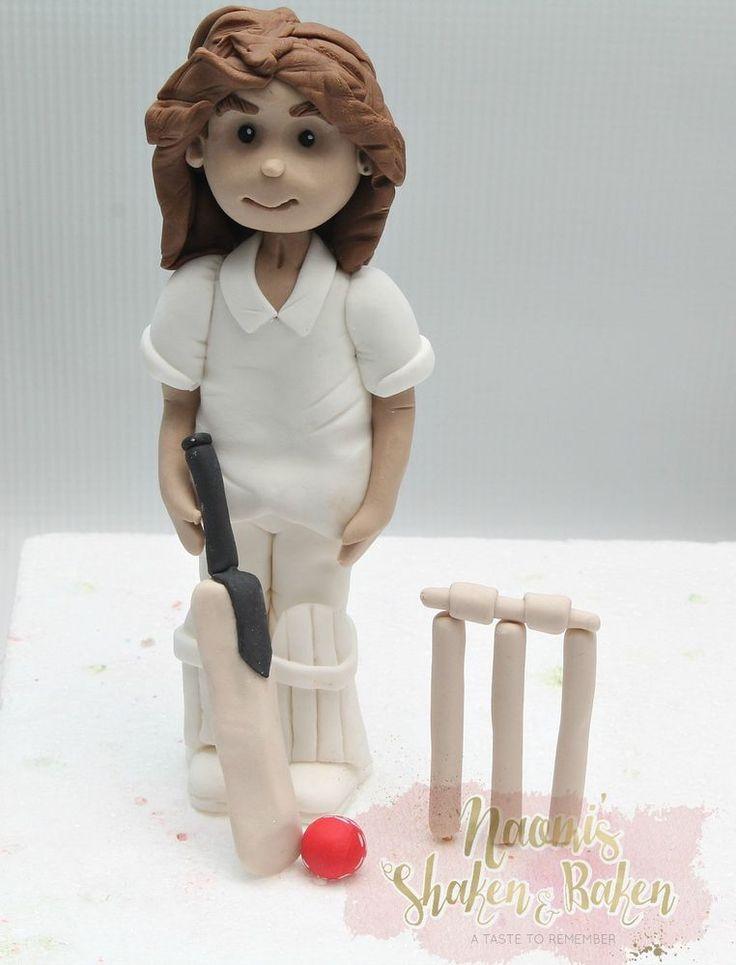 Edible Cricket Player 10-15cm Fondant Cake Topper Set #Birthday