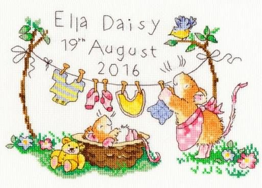 Squeaky Clean Birth Sampler Cross Stitch Kit £21.75 | Past Impressions | Bothy Threads