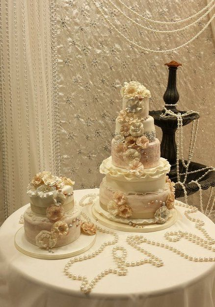ruffle an pearl vintage wedding cakes x   (The pearls made me think of you!!!)   :)