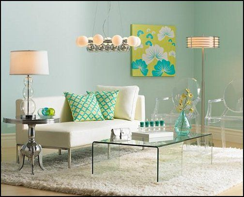 Lime and aqua. Ghost chairs. Simple modern chaise, glass table clear table. If you don't know what furniture to get JUST GO CLEAR :~0