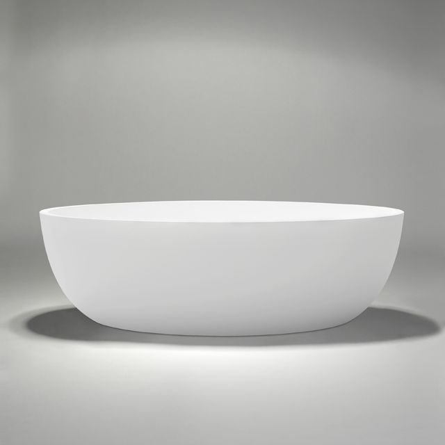 """halo 67"""" blu∙stone™ freestanding bathtub. Designed to deliver a deep-soaking bathing experience, new halo thin profile transitional bathtub stands at 67"""" by 31½"""", with a low step-over height of 19¾"""" making it convenient for daily showering/bathing functionality."""
