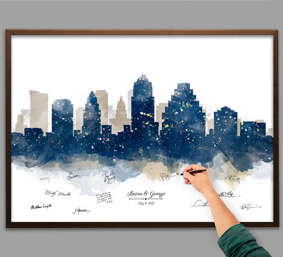 Wedding Guest Book Watercolor Austin Skyline Poster - Add Quote, Date - Wedding Decor - Wedding Reception - Personalized Guest Book