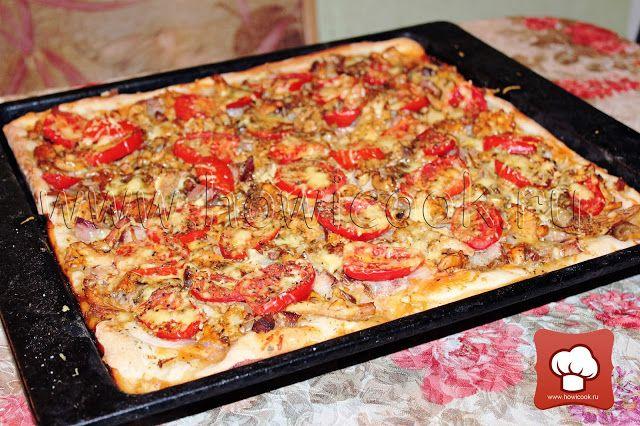 Пицца с шашлыком и лисичками