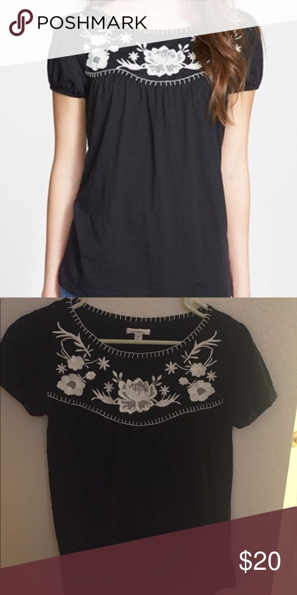 Black Nordstrom Embroidered Yoke Top Bought at Nordstrom, size XS, fun and breezy summer top. I don't drop prices, make an offer. Nordstrom Tops Tees - Short Sleeve