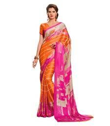 Buy Orange and Pink  printed georgette saree with blouse georgette-saree online