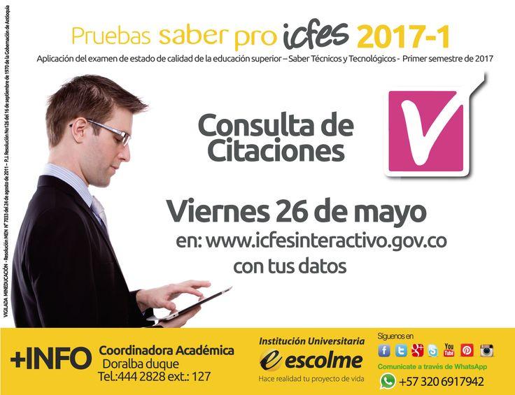 @Escolmeeduco No olvides la citación de las pruebas SABER PRO mañana 26 de mayo