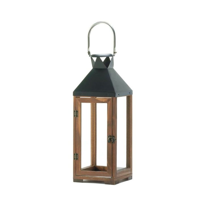 Koehler Home Decor Hartford Brown Metal and Wood Large Candle Lantern (Candle Holder)