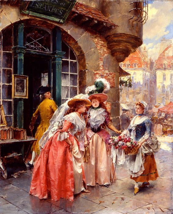 by Henry Victor Lesur  - The flower seller
