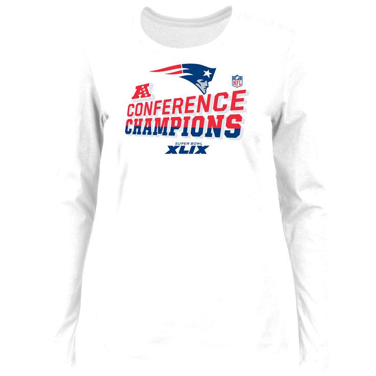 New England Patriots Majestic Women's 2014 AFC Champions Trophy Collection Locker Room Long Sleeve T-Shirt - White - $23.74